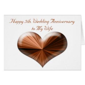 5to. Tarjeta del aniversario de boda al marido y a