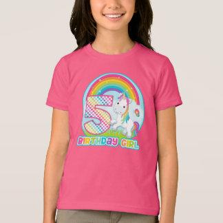 5to Unicornio del arco iris del cumpleaños - chica Playera