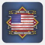 5to Voluntarios de New Hampshire del regimiento Pegatina Cuadrada