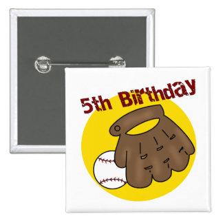 5tos regalos de cumpleaños del béisbol pin cuadrado