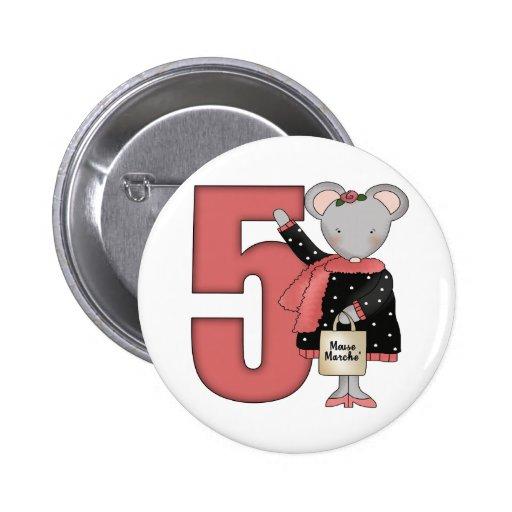 5tos regalos de cumpleaños del ratón pin redondo 5 cm