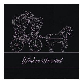 5x5 Black Carriage Wedding Invitation