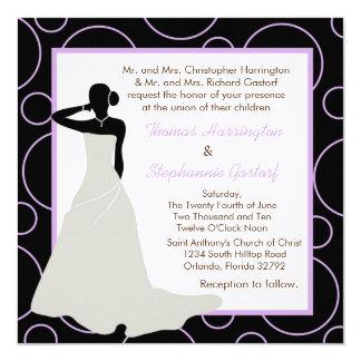 5x5 Black Pok-a-Dot Wedding Invitation