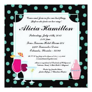 5x5 Blue Cocktails Bachelorette Invitation