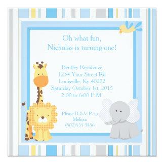 5x5 Blue Jungle 1st Birthday Invitation