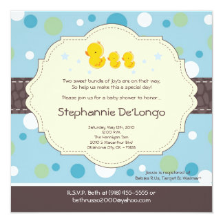 5x5 Boy TWIN Rubber Duck Baby Shower Invitation