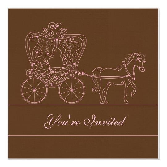 5x5 Brown Carriage Wedding Invitation