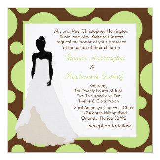 5x5 Brown Pok-a-Dot Wedding Invitation