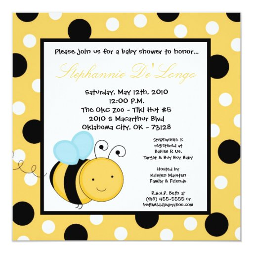 "5x5 Buzzin Honey Bumble Bee Baby Shower Invitation 5.25"" Square Invitation Card"