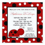 5x5 Crimson Red Lady Bug Baby Shower Invitation