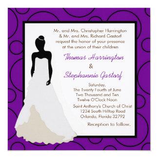 5x5 Dark Purple Pok-a-Dot Wedding Invitation