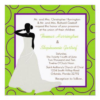 5x5 Electric Green Pok-a-Dot Wedding Invitation