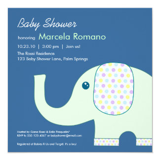 5x5 Elephant Baby Shower Invitations