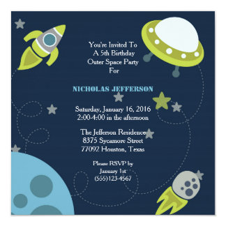 5x5 Green Outer Space Birthday Party Invitation