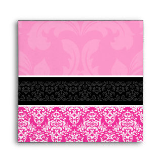 5x5 Half Hot Pink Black & White Damask Envelopes