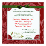 """5x5 Happy Holidays Christmas Holly Invitation 5.25"""" Square Invitation Card"""