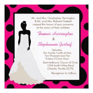 5x5 Hot Pink Pok-a-Dot Wedding Invitation