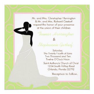 5x5 Light Green Pok-a-Dot Wedding Invitation