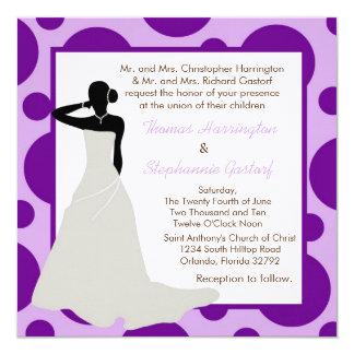 5x5 Light Purple Pok-a-Dot Wedding Invitation