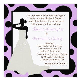 5x5 Lt Purple Pok-a-Dot Wedding Invitation