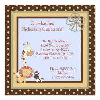 5x5 Nali Jungle 1st Birthday Invitation