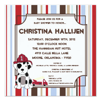 5x5 Nojo Fire Engine Baby Shower Invitation