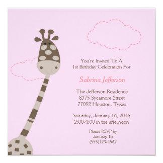 5x5 Pink Giraffe First Birthday Party Invitation
