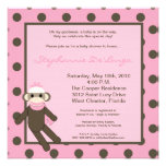 5x5 Pink Sock Monkey Toy Baby Shower Invitation Personalized Announcement