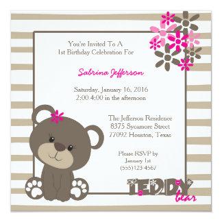 5x5 Pink Teddy Bear Birthday Party Invitation