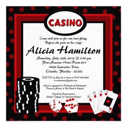 5x5 Red & Black Las Vegas Bachelorette Invitation