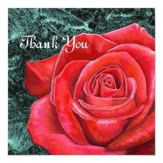 5x5 Red Rose Thank You Card