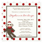5x5 Red Sock Monkey Toy Baby Shower Invitation Personalized Announcement