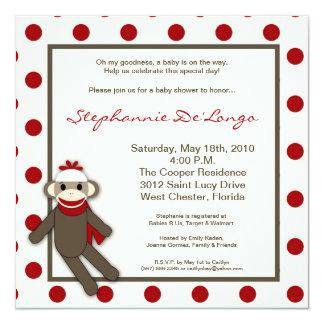 5x5 Red Sock Monkey Toy Baby Shower Invitation