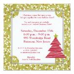 5x5 Red Tree Christmas Holly Invitation