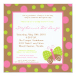 "5x5 Spring Butterfly Polka Baby Shower Invitation 5.25"" Square Invitation Card"