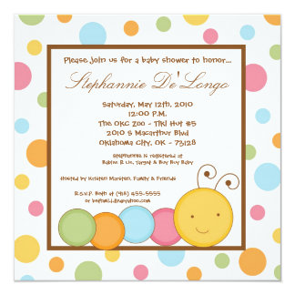 5x5 Spring Caterpillar Worm Baby Shower Invitation