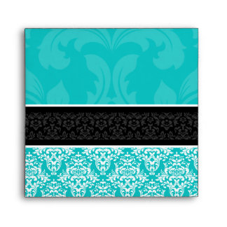 5x5 Turquoise Black & White Damask Lined Envelopes