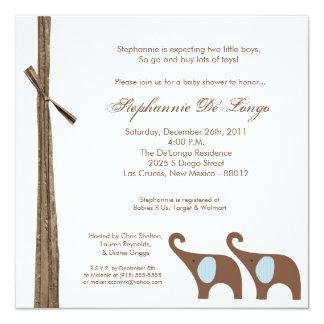 5x5 Twin Boy Elephants Baby Shower Invitation