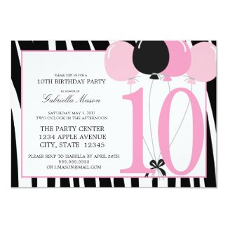 5x7 10th Birthday Party Invite