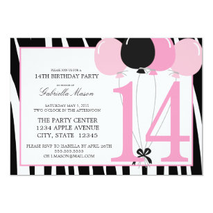 14th Birthday Party Invitations Announcements Zazzle