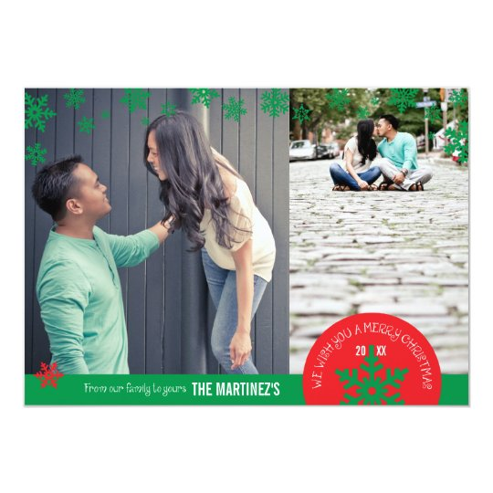 5x7 2 Photo Snowflake Photo Card