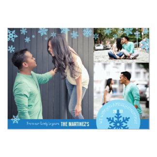 5x7 3 Photo Snowflake Photo Card