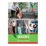 5x7 4 Photo Holly Design Flat Card Personalized Invitation