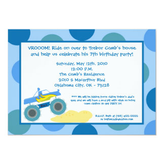 5x7 4x4 ATV Monster Truc Birthday Party Invitation
