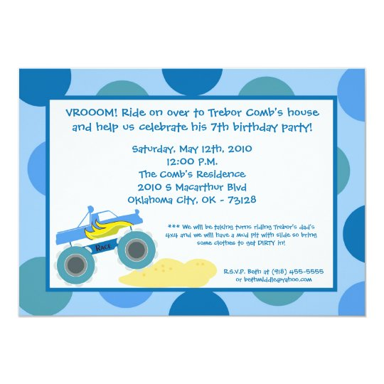 5x7 4x4 ATV Monster Truc Birthday Party Invitation