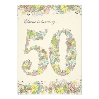 5x7 50th Birthday Party Natural Blooms Invitation