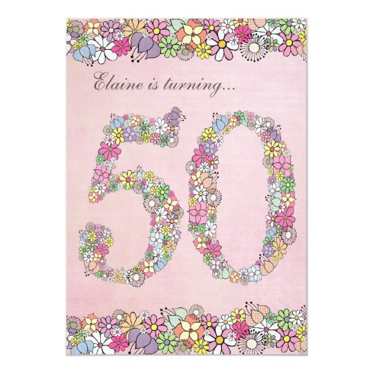 5x7 50th Birthday Party Spring Blooms Template