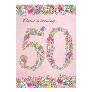 5x7 50th Birthday Party Spring Blooms Template Invites
