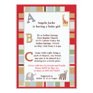 5x7 ABC Alphabet Soup Striped Baby Shower Card