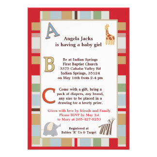 5x7 ABC Alphabet Soup Striped Baby Shower Personalized Announcements